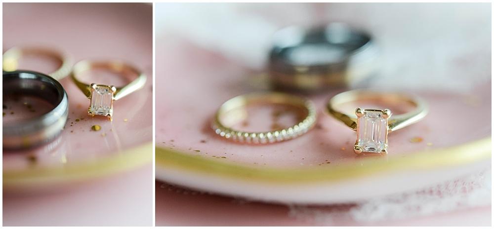 Gold wedding rings on blush and gold ring holder | Mustard Seed Gardens Wedding by Sara Ackermann Photography & Jessica Dum Wedding Coordination