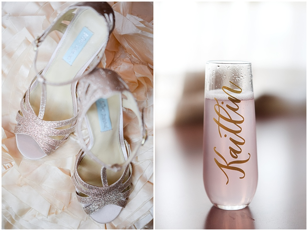 Gold glitter wedding shoes and some bubbly for the bride in a gold hand-lettered champagne glass | Mustard Seed Gardens Wedding by Sara Ackermann Photography & Jessica Dum Wedding Coordination