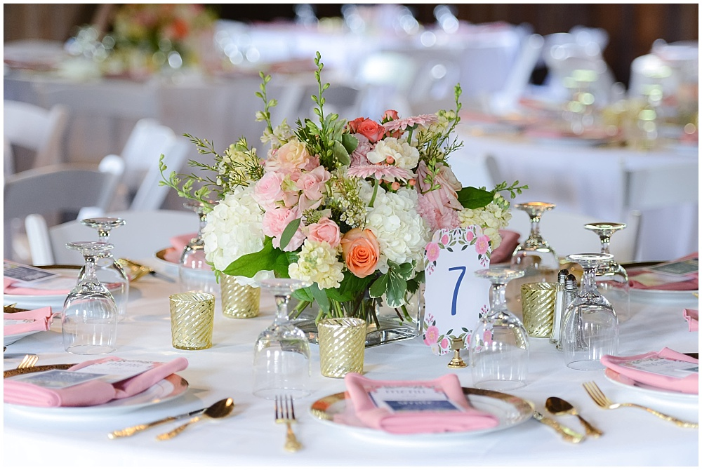 Pink and Navy wedding tablescape with blush floral centerpieces and gold accents | Mustard Seed Gardens Wedding by Sara Ackermann Photography & Jessica Dum Wedding Coordination
