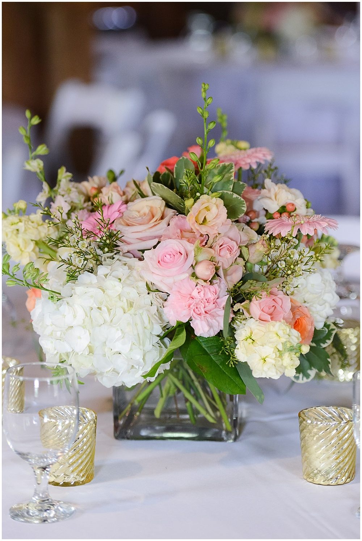 Blush and white floral centerpiece with gold votives | Mustard Seed Gardens Wedding by Sara Ackermann Photography & Jessica Dum Wedding Coordination