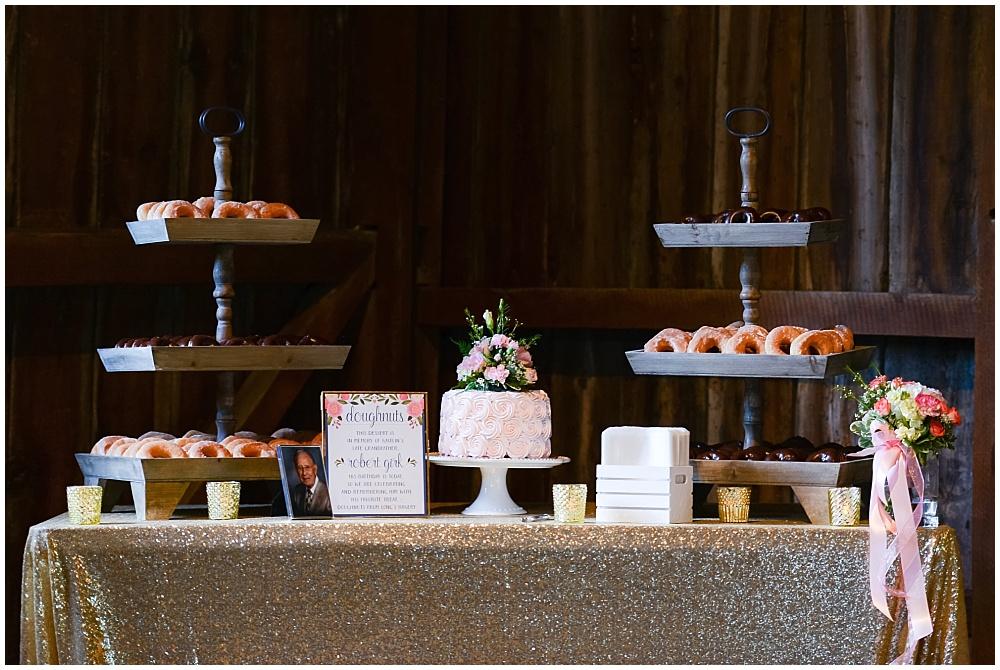 Cake and dessert station with gold glitter linen | Mustard Seed Gardens Wedding by Sara Ackermann Photography & Jessica Dum Wedding Coordination