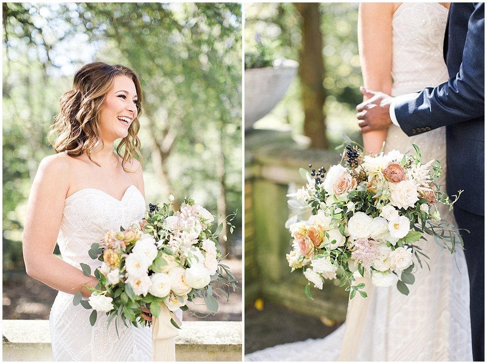 Ivory + neutral wedding bouquet | Navy and Gold Wedding at Laurel Hall with Ivan & Louise Photography + Jessica Dum Wedding Coordination