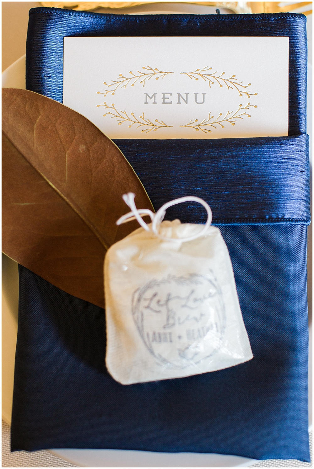 Navy + gold menu and favor | Navy and Gold Wedding at Laurel Hall with Ivan & Louise Photography + Jessica Dum Wedding Coordination