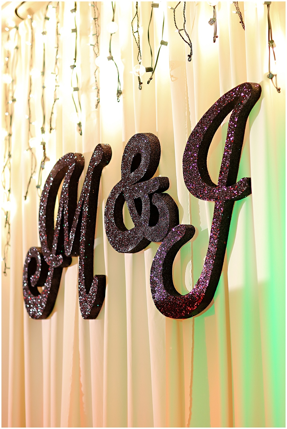 black glitter monogram, the alexander hotel wedding, Morgan + Julian