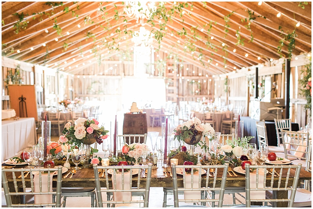 cafe lights in reception space, barn in zionsville wedding, ellie + tyler, ivan and louise images, jessica dum wedding coordination