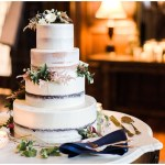 Naked cake with fall foliage   Laurel Hall wedding with Ivan & Louise Images + Jessica Dum Wedding Coordination
