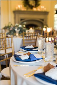 Navy and gold place settings   Laurel Hall wedding with Ivan & Louise Images + Jessica Dum Wedding Coordination