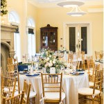 Navy and gold wedding tablescape with chiavari chairs   Laurel Hall wedding with Ivan & Louise Images + Jessica Dum Wedding Coordination