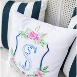 Custom wedding monogram crest on lounge seating pillows, navy and pink southern wedding | Ivan & Louise Images and Jessica Dum Wedding Coordination