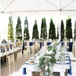 Draped greenery down a farmhouse tablescape, navy and pink southern wedding | Ivan & Louise Images and Jessica Dum Wedding Coordination
