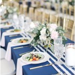 Navy striped runners with blush napkins, navy and pink southern wedding | Ivan & Louise Images and Jessica Dum Wedding Coordination
