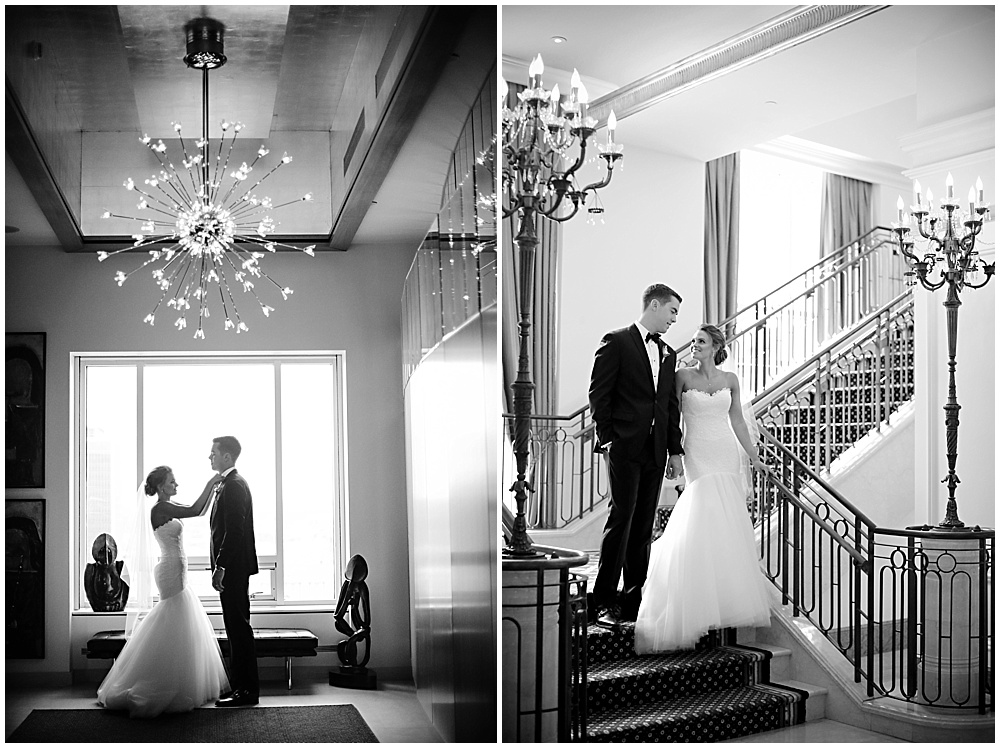 bride and groom hotel portraits | elegant gold downtown wedding | Jessica Strickland Photography and Jessica Dum Wedding Coordination