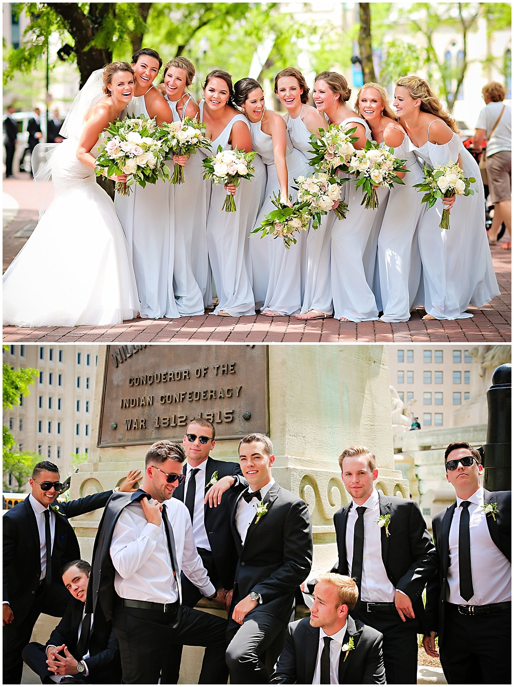light blue bridesmaid dresses with green and white bouquets | elegant gold downtown wedding | Jessica Strickland Photography and Jessica Dum Wedding Coordination