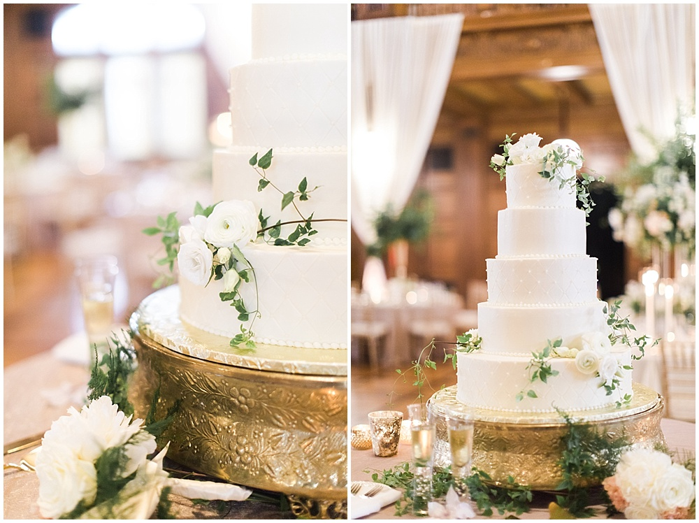 white and gold wedding cake | floral and greenery wedding| Ivan & Louise Images and Jessica Dum Wedding Coordination