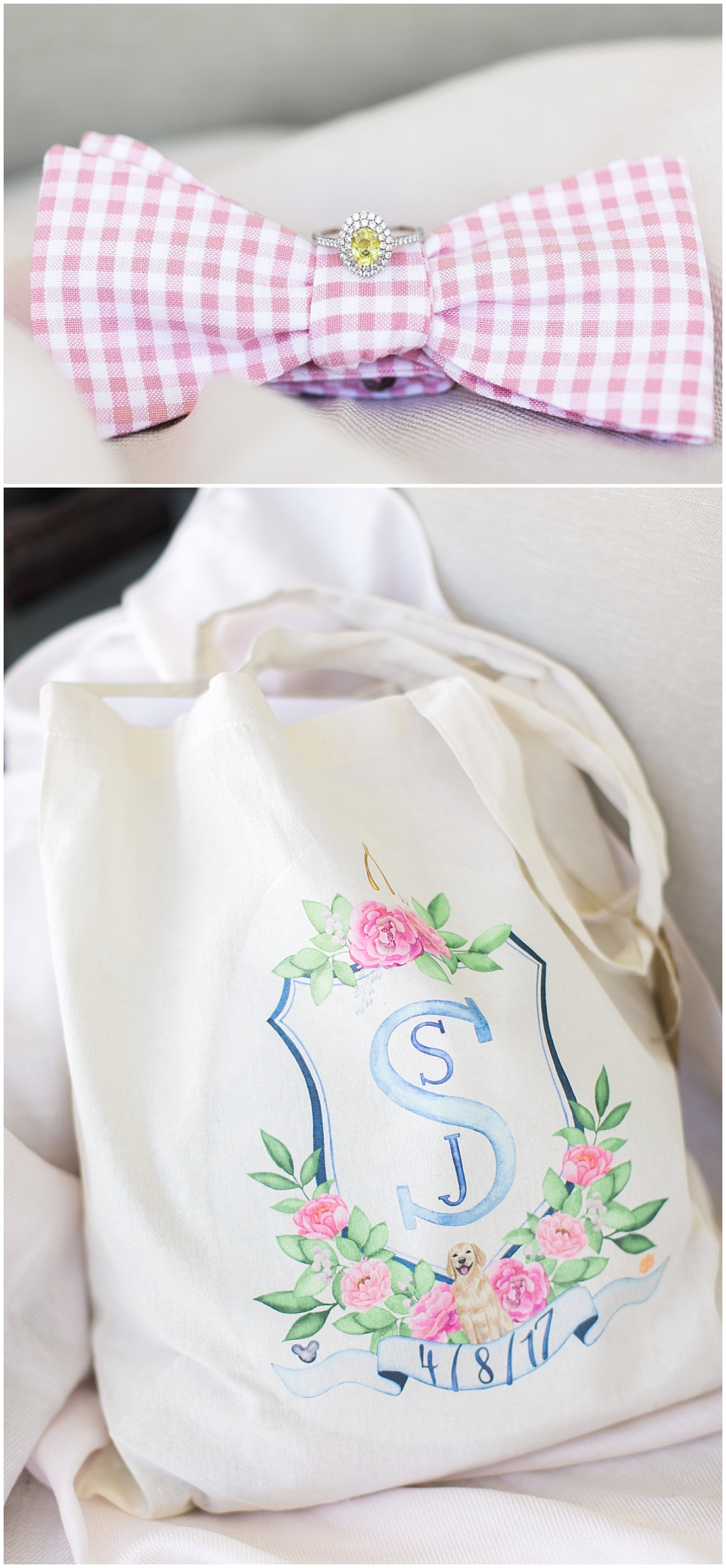 Wedding tote bag with custom monogram crest, navy and pink southern wedding | Ivan & Louise Images and Jessica Dum Wedding Coordination