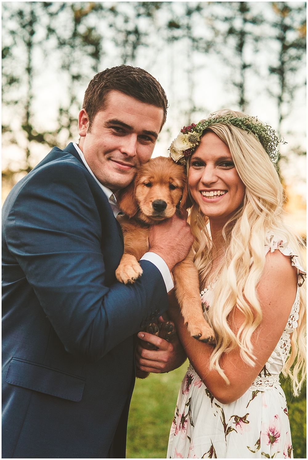 Fall golden hour engagement shoot with puppy | Alecio Photography