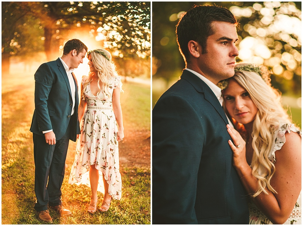 Fall golden hour engagement shoot with floral high-low dress + flower crown | Alecio Photography