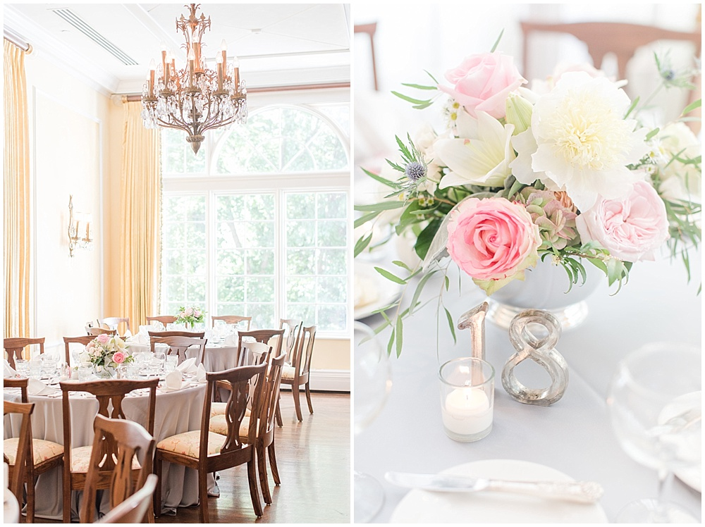 pink and white floral centerpieces; country club wedding | Sami Renee Photography + Jessica Dum Wedding Coordination