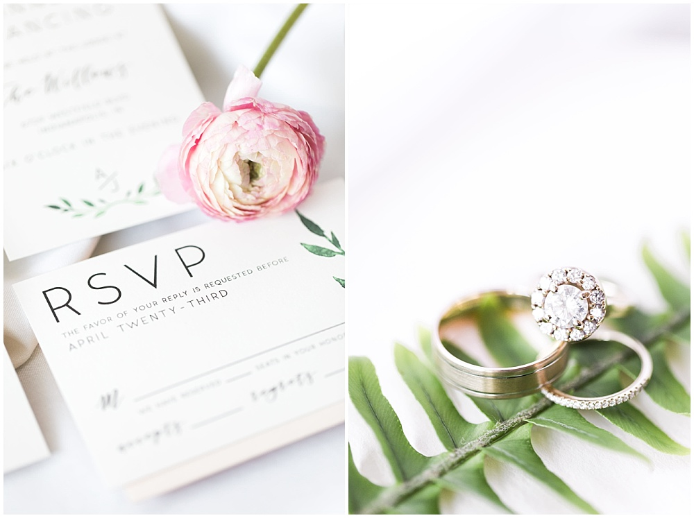 spring wedding invitation suite; halo wedding ring; Spring floral + gold wedding | Ivan & Louise Images | Jessica Dum Wedding Coordination