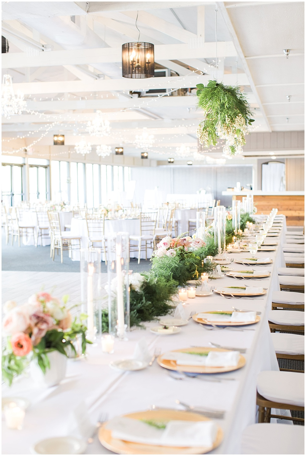 suspended head table florals, gold with greenery tablescape, Spring floral + gold wedding | Ivan & Louise Images | Jessica Dum Wedding Coordination