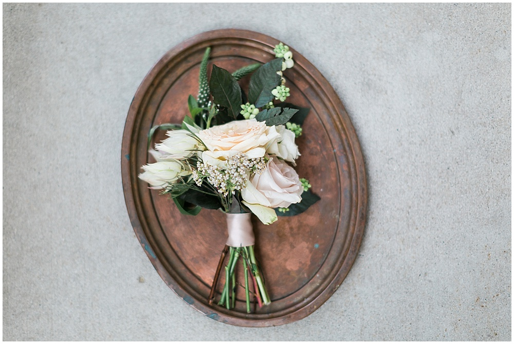 blush boutonnière; St. Joan of Arc Church; Mexican inspired gold & floral wedding; Crowne Plaza Indianapolis Downtown Union Station; neutral floral and greenery wedding|Cory + Jackie and Jessica Dum Wedding Coordination