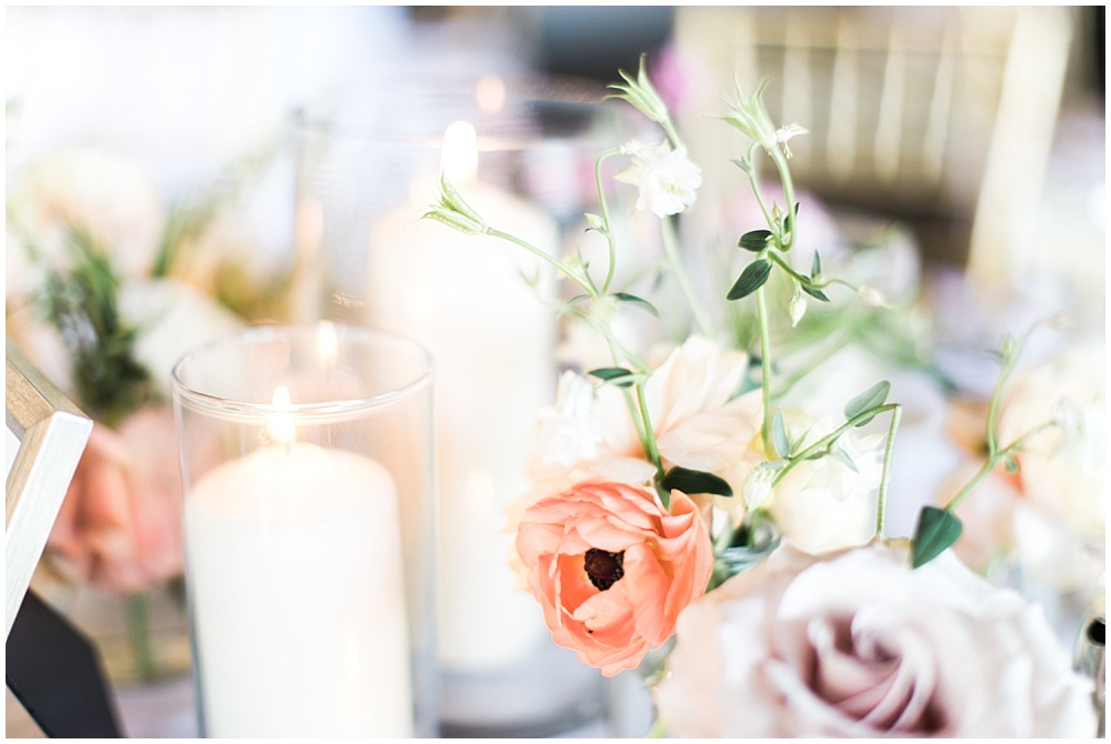 peach, purple and ivory flowers; spring wedding tablescape; dinner candlelight; creative business recap; our year in review | Ivan & Louise Images