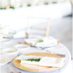 gold chargers with menus and greenery fern sprig tucked into napkin; Spring floral + gold wedding | Ivan & Louise Images | Jessica Dum Wedding Coordination