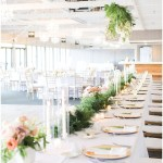 white on white wedding tablescape; gold chargers; greenery sprig and menu; suspended head table florals; Spring floral + gold wedding | Ivan & Louise Images | Jessica Dum Wedding Coordination