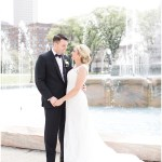 bride and groom portraits; white lace wedding dress; Scottish Rite Cathedral Indianapolis Wedding; neutral floral and greenery wedding| Ivan & Louise Images and Jessica Dum Wedding Coordination