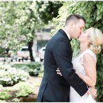 bride and groom first look; white lace wedding dress; Scottish Rite Cathedral Indianapolis Wedding; neutral floral and greenery wedding| Ivan & Louise Images and Jessica Dum Wedding Coordination
