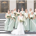 green bridesmaid dresses; ivory bouquets with greenery and flowing ivory ribbon; lace wedding dress; Scottish Rite Cathedral Indianapolis Wedding; neutral floral and greenery wedding| Ivan & Louise Images and Jessica Dum Wedding Coordination