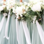 green bridesmaid dresses; ivory bouquets with greenery and flowing ribbon; Scottish Rite Cathedral Indianapolis Wedding; neutral floral and greenery wedding| Ivan & Louise Images and Jessica Dum Wedding Coordination