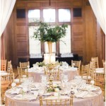 gold crush linens; vanilla lace glass chargers; gold chiavari chairs; white draped fabric; greenery centerpieces; Scottish Rite Cathedral Indianapolis Wedding; neutral floral and greenery wedding| Ivan & Louise Images and Jessica Dum Wedding Coordination