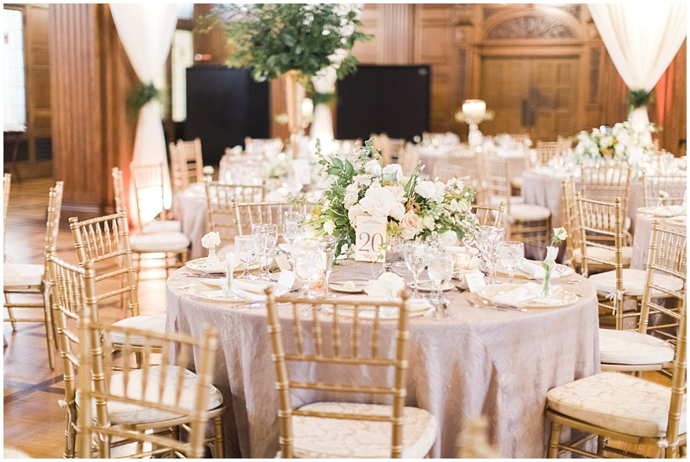 Gold and ivory wedding tablescape; blush and ivory wedding flowers with greenery; Scottish Rite Cathedral Indianapolis Wedding; neutral floral and greenery wedding| Ivan & Louise Images and Jessica Dum Wedding Coordination
