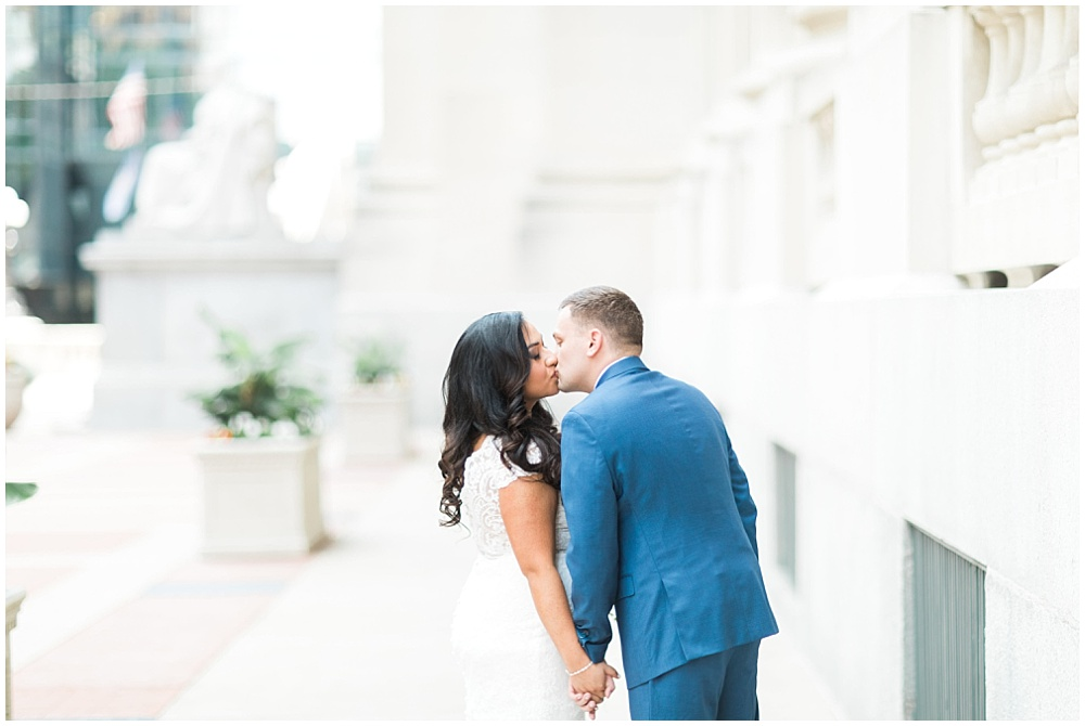 lace wedding dress; blue groom's suit; Mexican inspired gold & floral wedding; Crowne Plaza Indianapolis Downtown Union Station; neutral floral and greenery wedding|Cory + Jackie and Jessica Dum Wedding Coordination