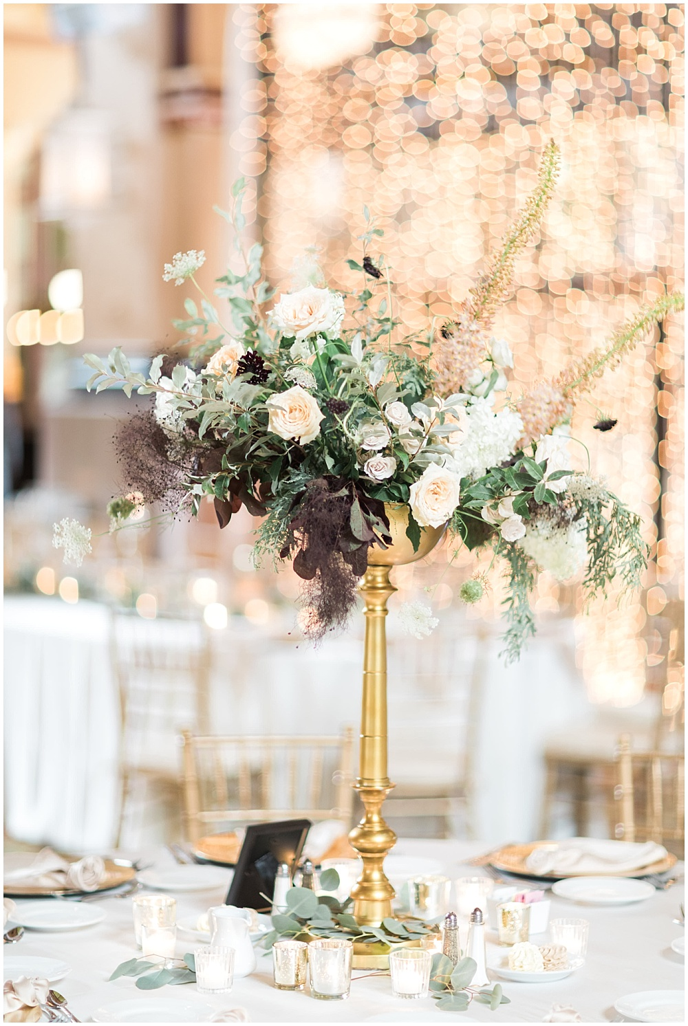 blush and gold wedding tablescape with greenery; twinkle lighting backdrop; Mexican inspired gold & floral wedding; Crowne Plaza Indianapolis Downtown Union Station; neutral floral and greenery wedding|Cory + Jackie and Jessica Dum Wedding Coordination