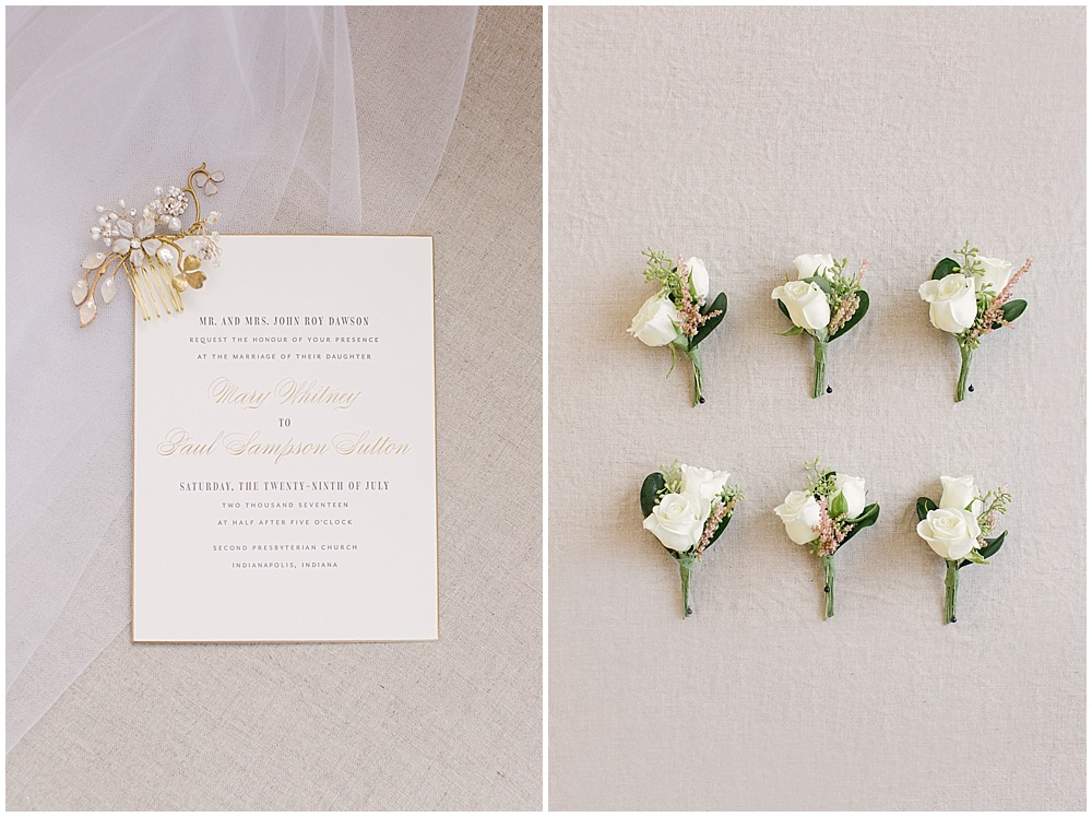 gold detail wedding invitation; gold hair comb; white and blush boutonniere; Navy + blush wedding; Scottish Rite Cathedral Indianapolis | Traci & Troy Photography and Jessica Dum Wedding Coordination