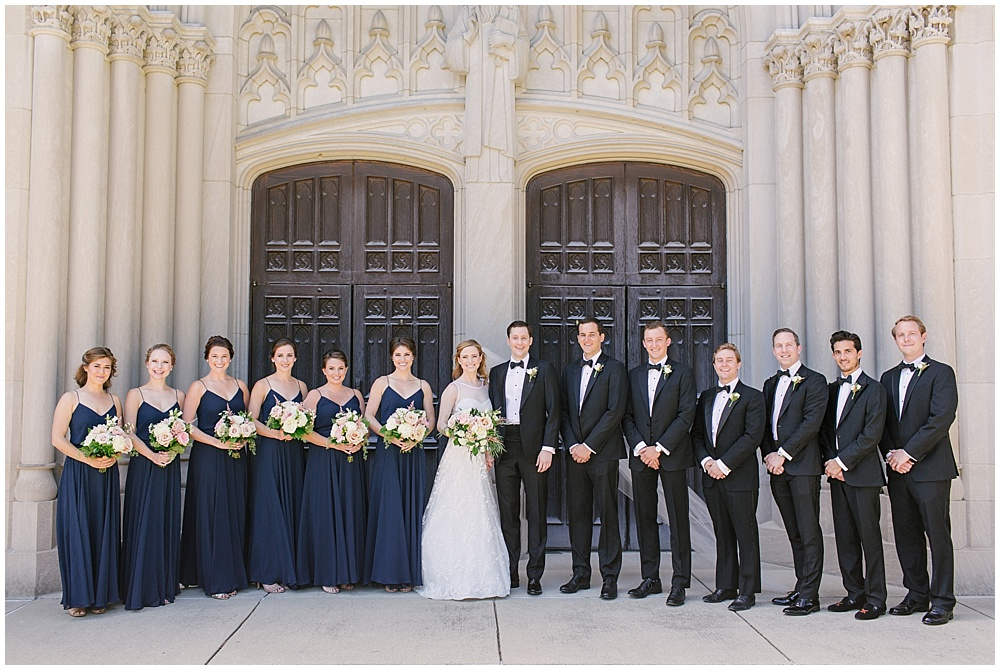 navy bridesmaid dresses; bridal party; Navy + blush wedding; Scottish Rite Cathedral| Traci & Troy Photography and Jessica Dum Wedding Coordination