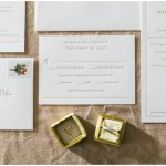 white wedding invitations; invitation suite; yellow the mrs. box; wedding rings; letterpress; Mexican inspired gold & floral wedding; Crowne Plaza Indianapolis Downtown Union Station; neutral floral and greenery wedding|Cory + Jackie and Jessica Dum Wedding Coordination