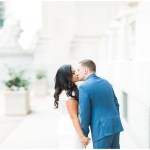 bride and groom portraits; white lace wedding dress; blue groom's suit; Mexican inspired gold & floral wedding; Crowne Plaza Indianapolis Downtown Union Station; neutral floral and greenery wedding|Cory + Jackie and Jessica Dum Wedding Coordination
