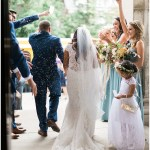 bride and groom ceremony exit; birdseed exit; Mexican inspired gold & floral wedding; Crowne Plaza Indianapolis Downtown Union Station; neutral floral and greenery wedding|Cory + Jackie and Jessica Dum Wedding Coordination