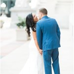 bride and groom portraits; blue groom's suit; Mexican inspired gold & floral wedding; Crowne Plaza Indianapolis Downtown Union Station; neutral floral and greenery wedding|Cory + Jackie and Jessica Dum Wedding Coordination