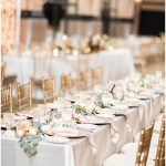 blush and gold wedding tablescape; gold chargers; rose napkin fold; draped greenery; Mexican inspired gold & floral wedding; Crowne Plaza Indianapolis Downtown Union Station; neutral floral and greenery wedding|Cory + Jackie and Jessica Dum Wedding Coordination