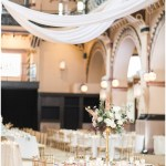 white draping; kelly lenard flowers; Mexican inspired gold & floral wedding; Crowne Plaza Indianapolis Downtown Union Station; neutral floral and greenery wedding|Cory + Jackie and Jessica Dum Wedding Coordination