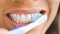 USA, New Jersey, Jersey City, Close-up of woman brushing teeth