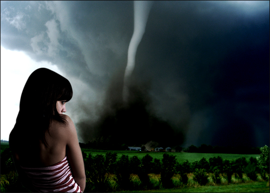 artistic photography tornado girl plains design