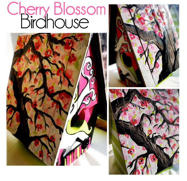 Custom Handpainted Cherry Blossom Birdhouse