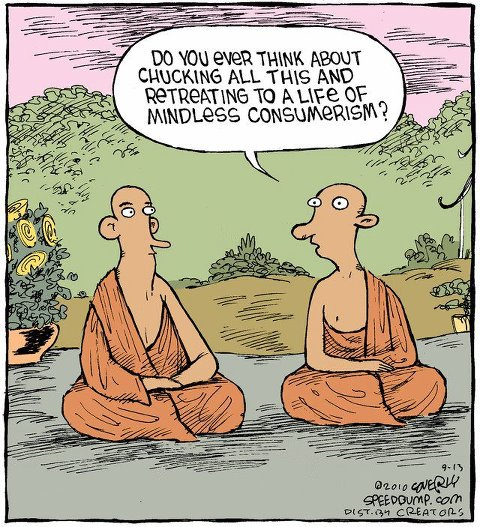 Monks Consumerism Cartoon