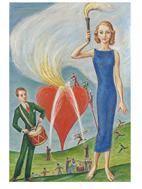 Nils Dardel, Flickan med facklan och det brinnande hjärtat, 1931 © Nils Dardel/BUS2014. Fotograf Per Myrehed AB