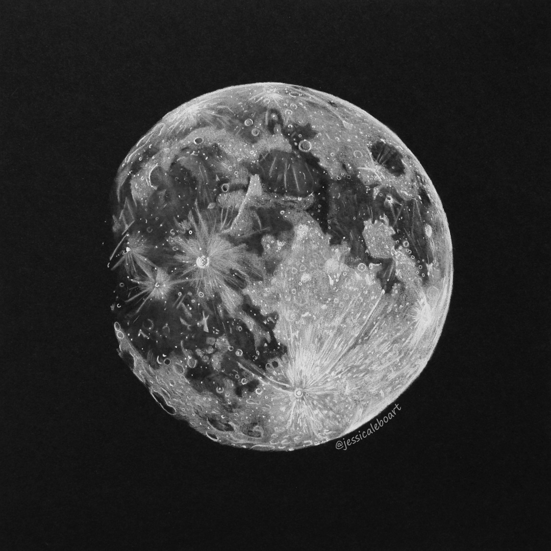 Full Moon Drawing Black And White Black Paper Drawings Jessica Lebo Art